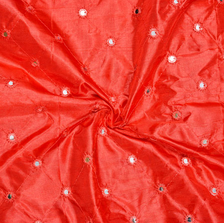 Red Mirror Embroidery Silk Paper Fabric-18615