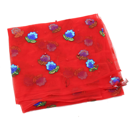 Red Net Base Fabric With Blue and Golden Floral Embroidery -60087