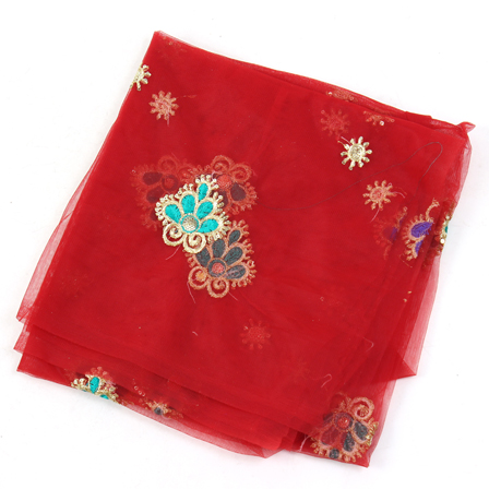 Red Net Base Fabric With Golden and Blue Floral Embroidery -60079