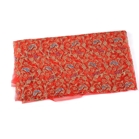 Red Net Fabric With Golden Paisley Embroidery-60541