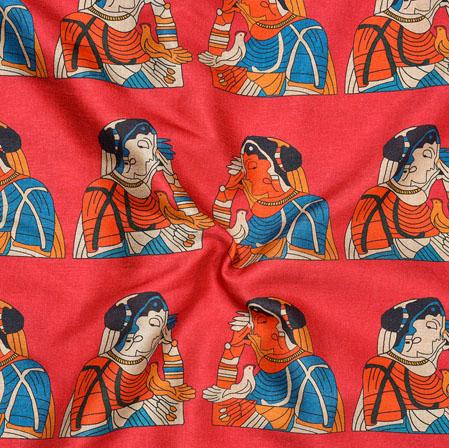 Red Orange Bridal Print Manipuri-Silk Fabric-18012