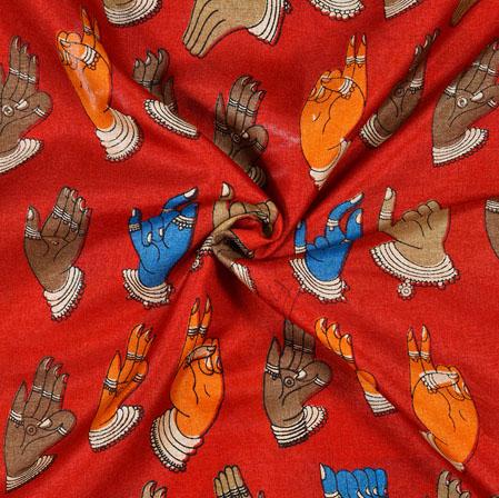 Red Orange Hand-Mudra Print Manipuri-Silk Fabric-18003