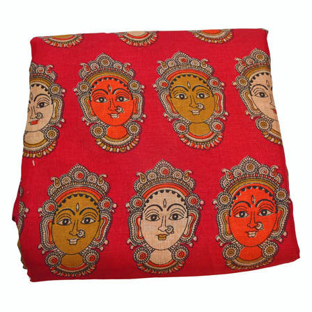 Red-Orange and Cream Durga Devi Pattern Kalamkari Manipuri Silk-16009