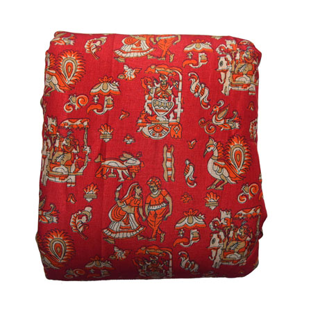 Red-Orange and Cream Warli Design Kalamkari Manipuri Silk-16139