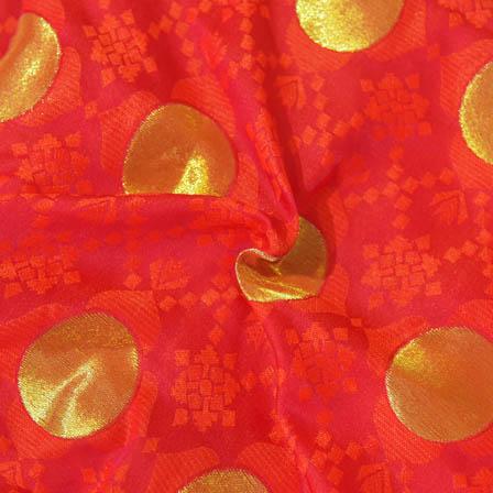 Red-Orange and Golden Circular Shape Brocade Silk Fabric-8010