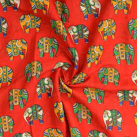 Red-Orange and Green Elephant Design Kalamkari Cotton Fabric-10099