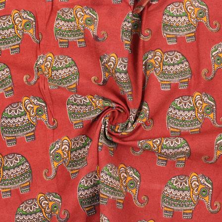 Red-Orange and Green Elephant Kalamkari Cotton Fabric-10168