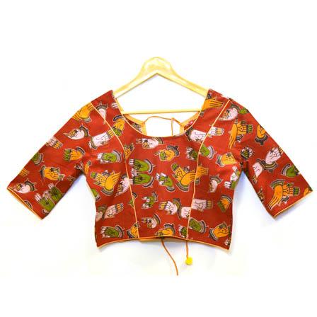Red-Orange and Green Hand Mudra Kalamkari Print Cotton Blouse-30071