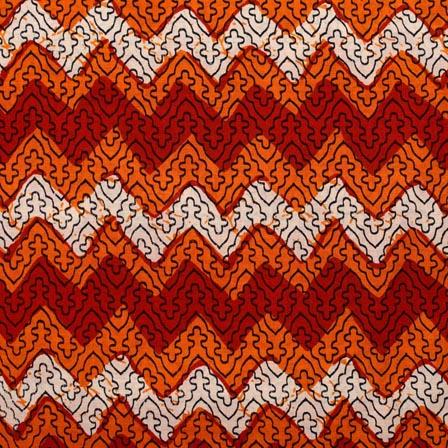 Red-Orange and White Block Print Indian Cotton Fabric-RL4315