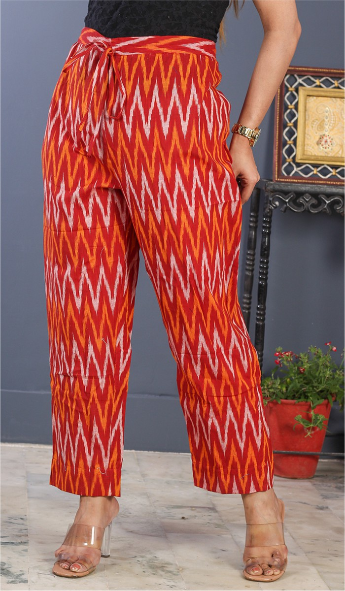 Red Orange and White Cotton Ikat Ankle Women Pant-34683