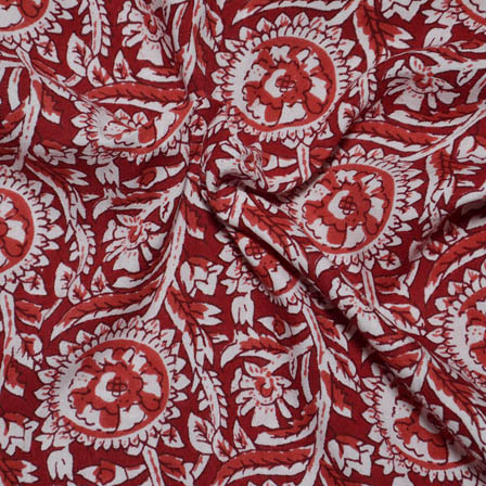 Red-Orange and White Flower Shape Rayon Fabric-15019