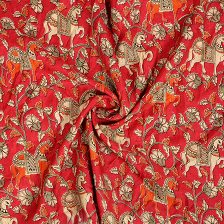 Red-Orange and White Horse Pattern Kalamkari Manipuri Silk Fabric-16268