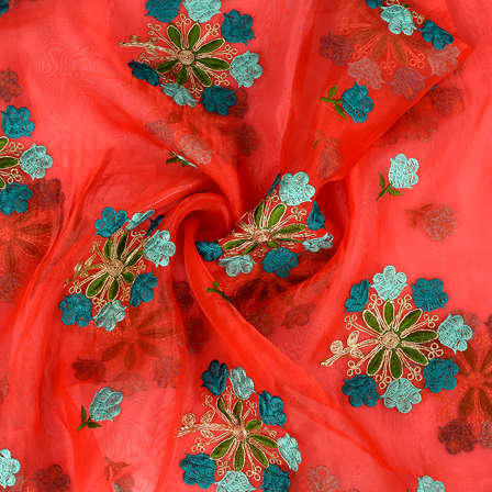 Red Organza Fabric With Green and Golden Flower  Embroidery -50093