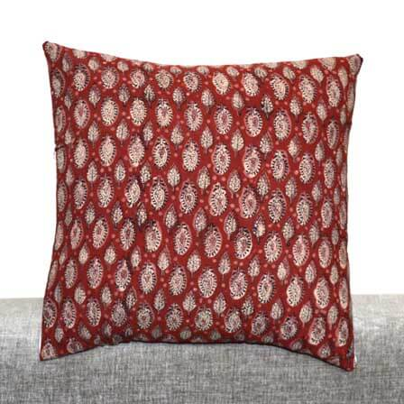 Red Paisley and Flower block print Indian cotton Cushion Cover