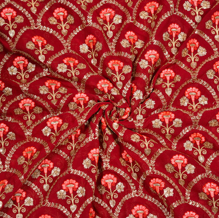 Red Peach Floral Georgette Embroidery Silk Fabric-19048