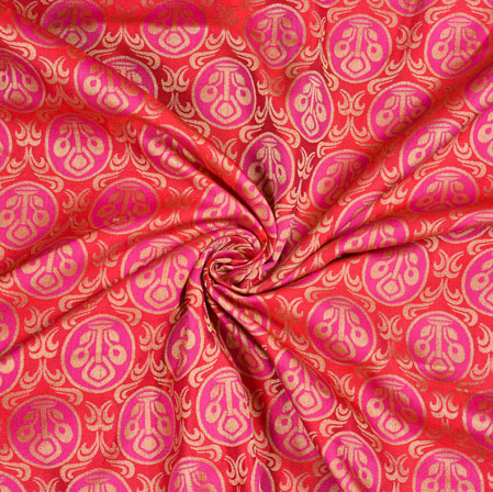 Red Pink Floral Brocade Silk Fabric-12942