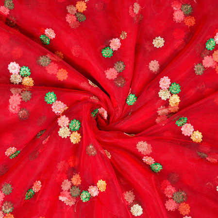 Red Pink Floral Net Embroidery Fabric-19238