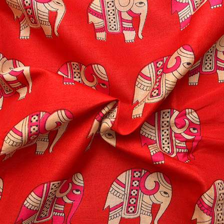 Red-Pink and Cream Elephant Design Kalamkari Manipuri Silk-16040