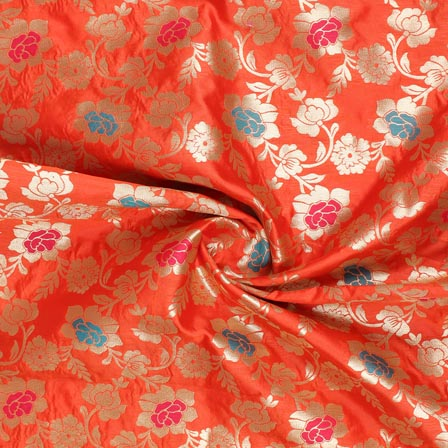 Red Pink and Cyan Floral Banarasi Silk Fabric-9262