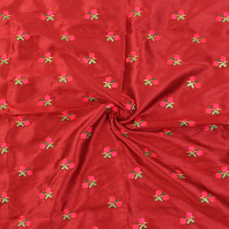 Red-Pink and Golden Flower Design Silk Embroidery Fabric -60126