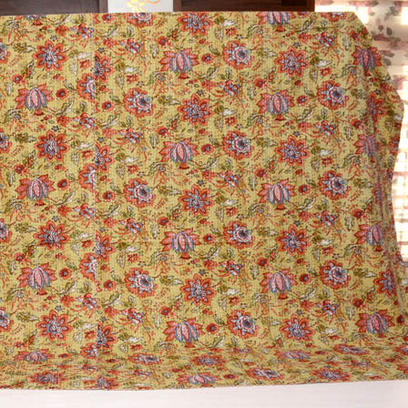 Red-Pink and Green Handmade Floral Pattern Kantha Quilt-4346