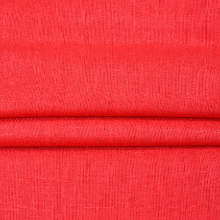 Red Plain Linen Fabric-90159