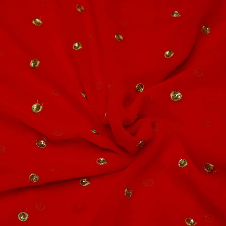 Red Poly Georgette Base Fabric With Golden Dot Embroidery-60050