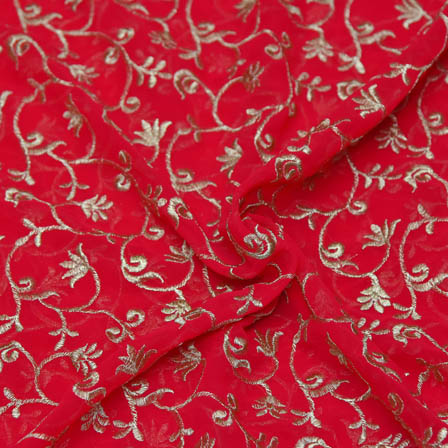 Red Poly Georgette Base Fabric With Golden Floral Embroidery-60048
