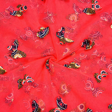 Red Purple Net Butterfly Embroidery Fabric-18773