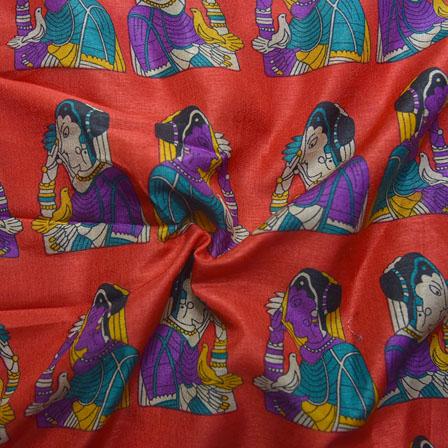 Red-Purple and Cream Bride Pattern Kalamkari Manipuri Silk-16105