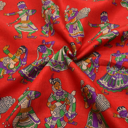 Red-Purple and Green Dancing Mudra Design Kalamkari Manipuri Silk-16076