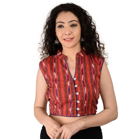 Red-Purple and White Sleeveless Cotton Ikat Blouse-30163