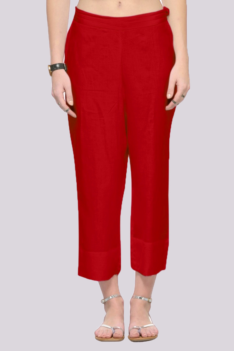 Red Rayon Ankle Length Pant-33691