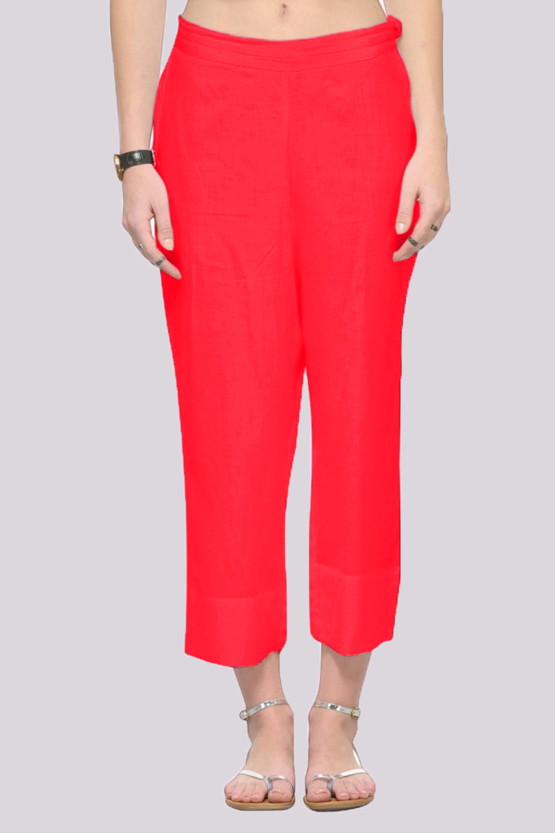 Red Rayon Ankle Length Pant-33696