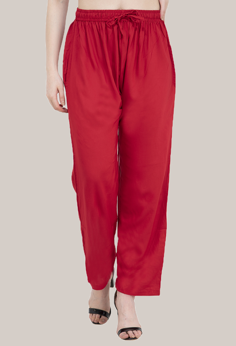 Red Rayon Pant-33480
