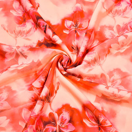 Red Red Floral Crepe Silk Fabric-41027