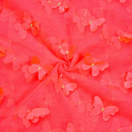 Red Red Net Butterfly Embroidery Fabric-18788