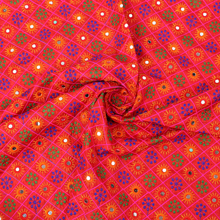 Red Silk Base Fabric With Orange and Green Circular Embroidery-RAH60420