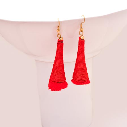 Red Silk Handcrafted with Red Tassel Drop Earring for Women