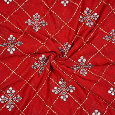 Red Silver Floral Georgette Embroidery Silk Fabric-18927