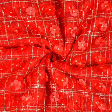 Red Silver Floral Net Applique Fabric-19242