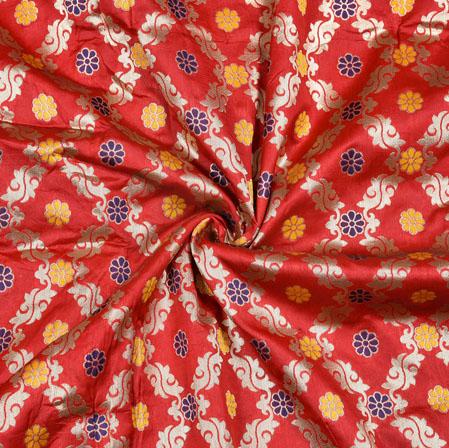 Red Silver Flower Brocade Banarasi Silk Fabric-12864