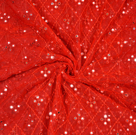 Red Silver Flower Net Embroidery Fabric-19164