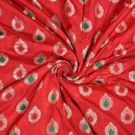 Red Silver Leaf Brocade Silk Fabric-12949