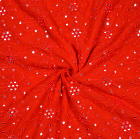 Red Silver Polka Georgette Embroidery Silk Fabric-18951