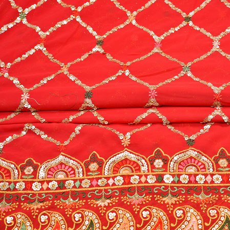 Red Silver Square Panel Work Georgette Silk Fabric-19221
