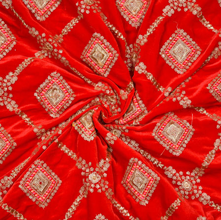 Red Silver Square Velvet Embroidery Silk Fabric-19199