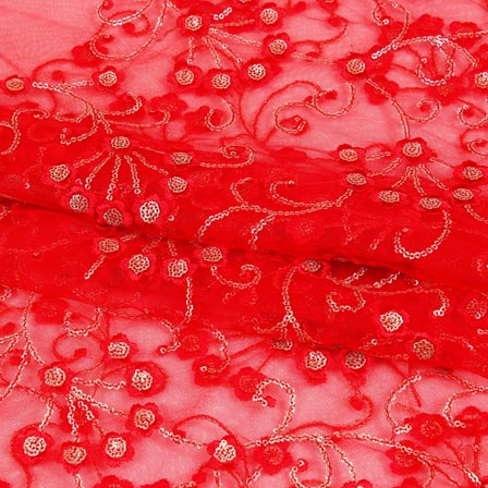 Red Silver Star Embroidery Net Fabric-60978