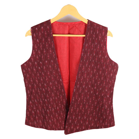fab9cc544c166 Buy Red Sleeveless Ikat Cotton Jacket-12234