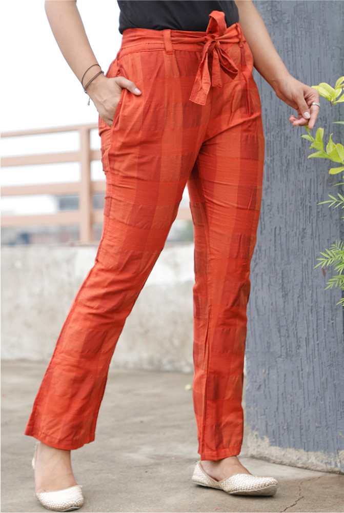 Red South Cotton Plain Narrow Pant with Belt-33915